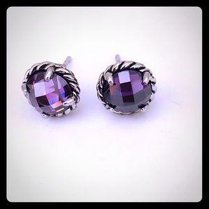 David Yurman Amethyst Chatelaine Earrings Silver